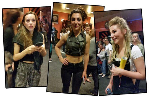 Elisa, Lucie et Juliette de L.E.J., croisées dans les coulisses de l'Olympia, vendredi soir.