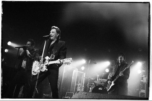 Johnny Hallyday sur la scène du Fonda Theatre, à Los Angeles, en avril dernier.