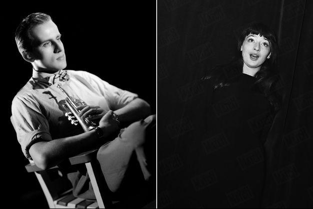 Boris Vian, portrait à la trompette (photographie non datée). Juliette Gréco sur la scène d'un cabaret de Saint-Germain-des-Près, au début des années 1950.