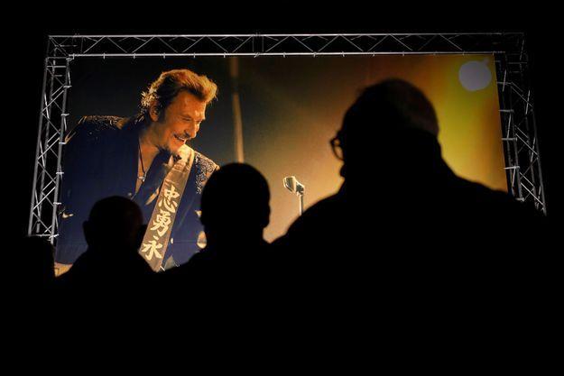 Un hommage rendu à Johnny Hallyday à Nice.