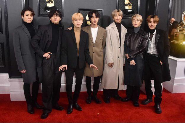 Le groupe BTS à Los Angeles, le 26 janvier dernier.