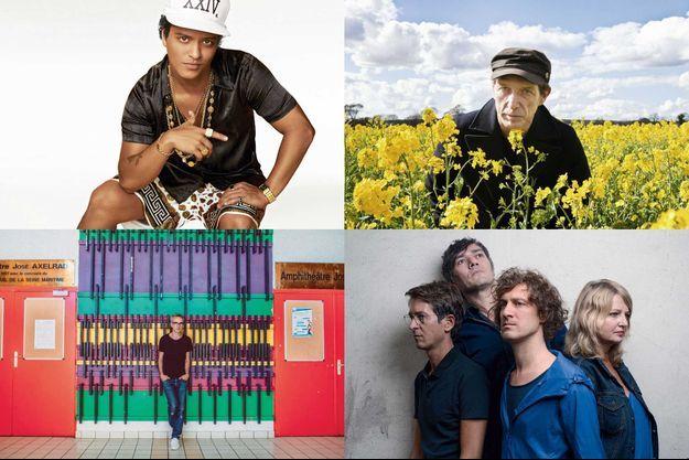 De haut en bas, de gauche à droite : Bruno Mars, Vincent Delerm, Miossec, Frère animal
