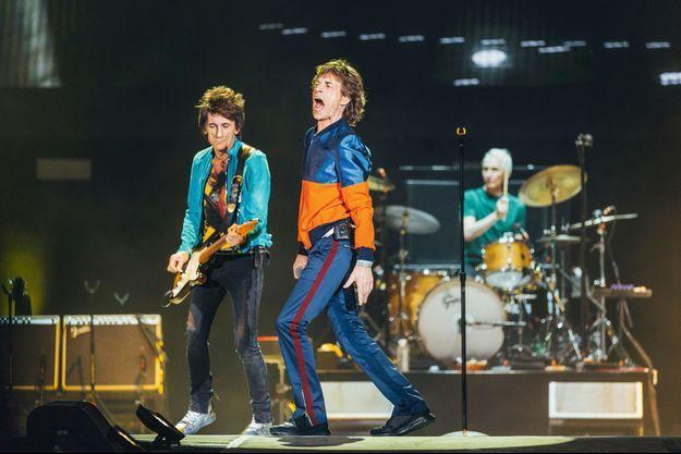 Ron Wood, Mick Jagger et Charlie Watts.