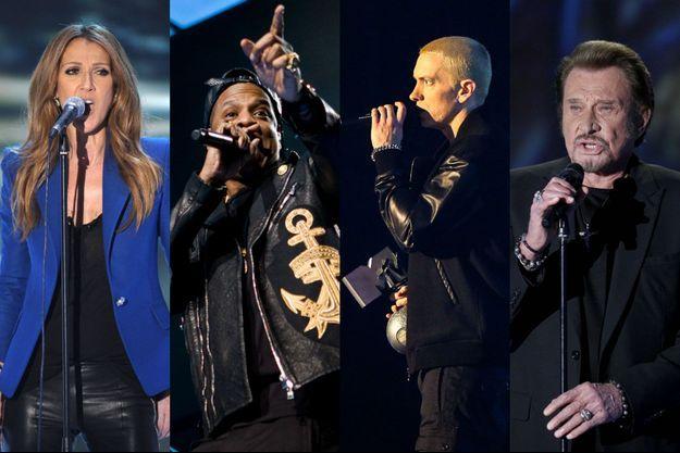 Céline Dion, Jay-Z, Eminem et Johnny Hallyday font tous partie de l'étude qui a analysé le vocabulaire des chanteurs.