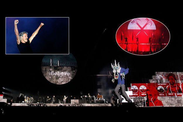 A Québec, en juillet 2012. Pendant la chanson « Another Brick in the Wall, part II », une marionnette géante se déploie sur la scène pour mieux dénoncer l'autorité du pouvoir. En médaillon, Roger Waters.