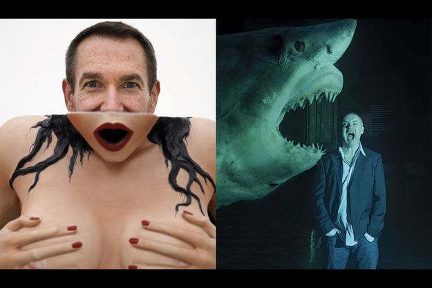 Jeff Koons joue à cache-cache derrière Woman in Tub, porcelaine de la série Banality de 1988. The Physical Impossibility of Death in the Mind of Someone Living, 1991. Terrorisé par sa propre création, Damien Hirst pose devant son œuvre.