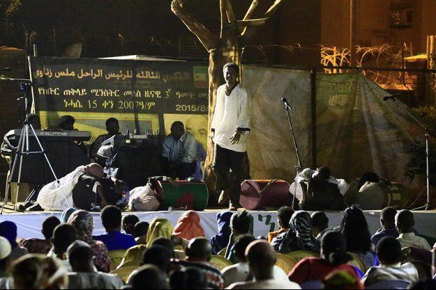 """Une représentation de la pièce """"Le bateau de la mort"""" à l'ambassade d'Ethiopie le 3 juin 2016."""