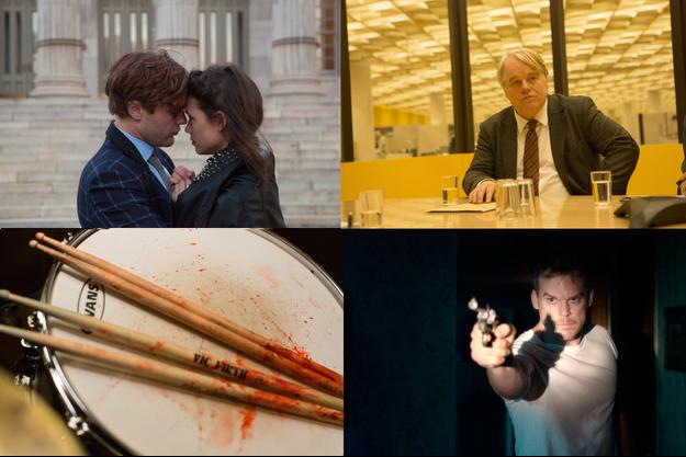 """De haut en bas et de gauche à droite, """"I Origins"""", """"Un homme très recherché"""", """"Whiplash"""" et """"Juillet de sang"""""""