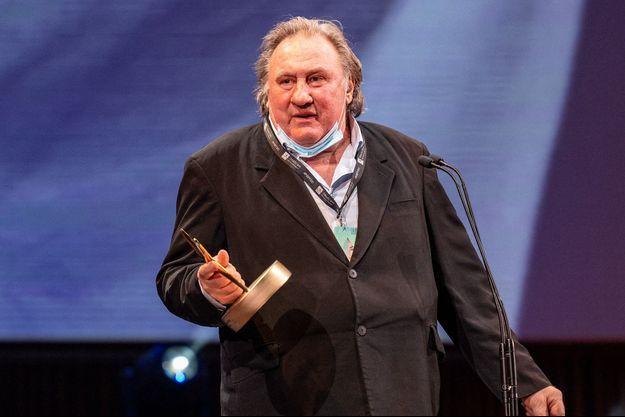 Gérard Depardieu reçoit le Career Achievement Award au Festival du film d'El Gouna en Égypte le 23 octobre 2020