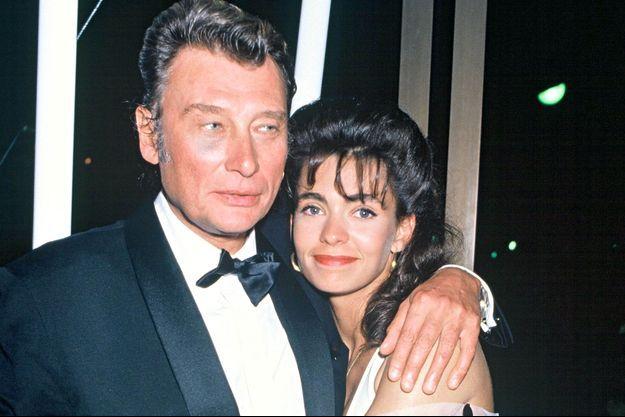 Johnny Hallyday et Adeline Blondieau au festival de Cannes en 1990.