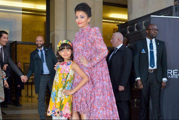 Aishwarya Rai et sa fille Aaradhya, en septembre 2019.