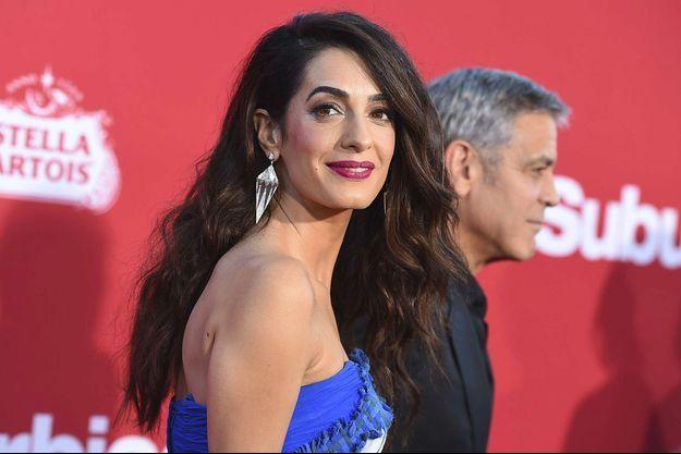 Amal Clooney avec son mari George à Los Angeles, le 22 octobre 2017