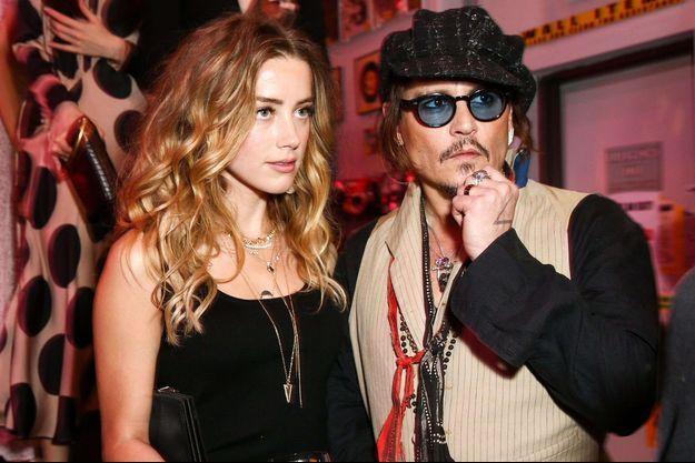 Amber Heard et Johnny Depp à Los Angeles, le 12 janvier 2016.
