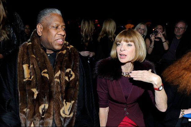 André Leon Talley et Anna Wintour pendant la Fashion Week de New York, le 14 février 2011.