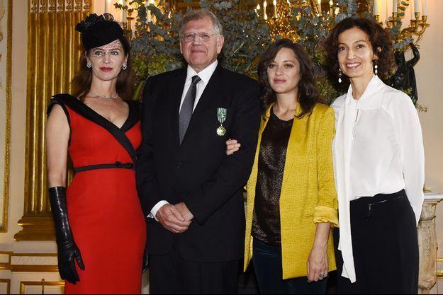 Leslie Zemeckis, Robert Zemeckis, Marion Cotillard et la ministre de la Culture, Audrey Azoulay.