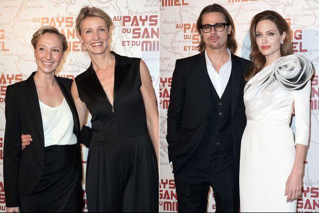 """Brad Pitt, Angelina Jolie, Audrey et Alexandra Lamy à la première du film """"Au pays du sang et du miel"""" à Paris le 16 février 2012"""