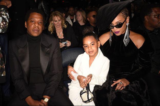 Jay-Z, Blue Ivy et Beyoncé aux Grammy Awards le 28 janvier 2018