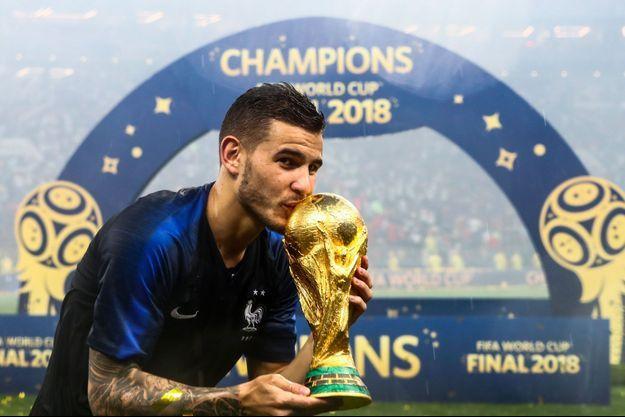 Lucas Hernandez à Moscou après la victoire de la France en finale de la Coupe du monde le 15 juillet 2018