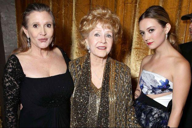Carrie Fisher, Debbie Reynolds et Billie Lourd le 25 janvier 2015 à Los Angeles.