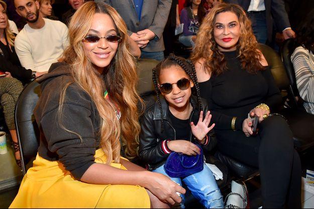 Beyoncé, Blue Ivy et Tina Knowles le 18 février 2018 à Los Angeles
