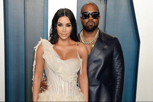 Kim Kardashian et Kanye West à l'after-party des Oscars en février 2020.