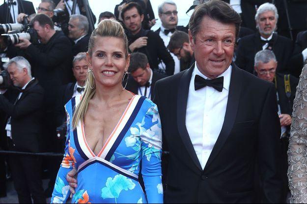 Laura Tenoudji et son mari Christian Estrosi, à Cannes, le 8 mai.