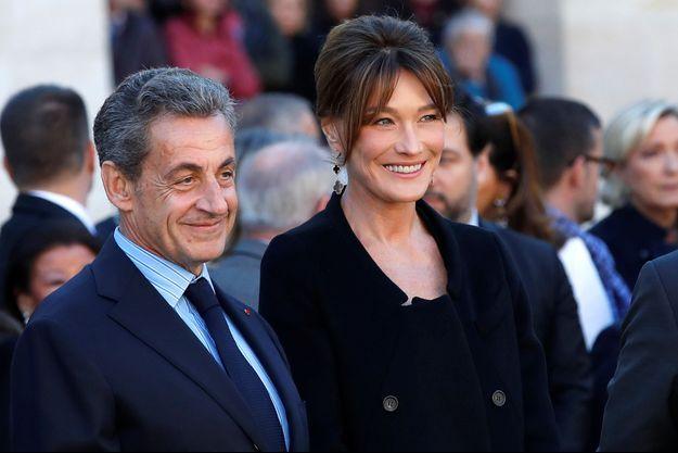 Carla Bruni et Nicolas Sarkozy à Paris en octobre 2018.
