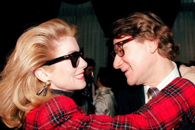 Catherine Deneuve et Yves Saint Laurent en 1987