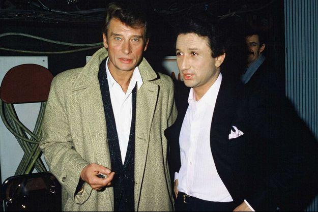 Johnny Hallyday et Michel Drucker en 1986.