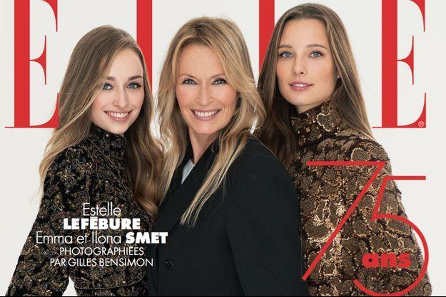 """Emma Smet, Estelle Lefébure et Ilona Smet en couverture du magazine """"ELLE"""" pour l'édition du 11 décembre 2020"""