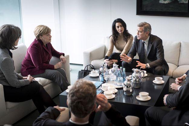 Angela Merkel avec Amal et George Clooney