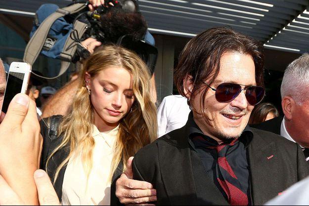 Amber Heard et Johnny Depp, en Australie, en avril 2016.