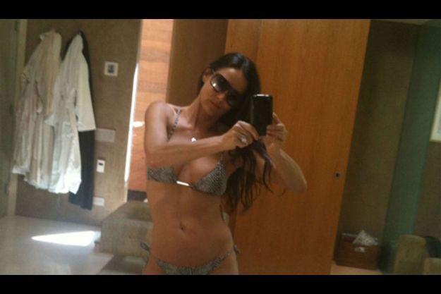 Le 15 octobre 2010, Demi Moore se prend en photo, seule, dans sa salle de bain et poste le cliché sur Twitter.