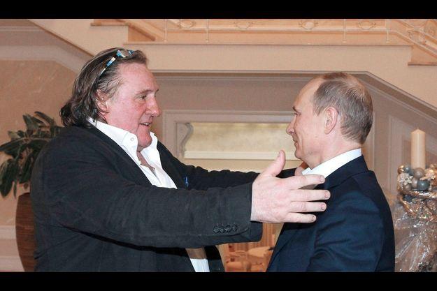 Gérard Depardieu et Vladimir Poutine à Sochi le six janvier.