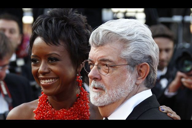 Mellody au bras de George Lucas, en mai 2010, au festival de Cannes.