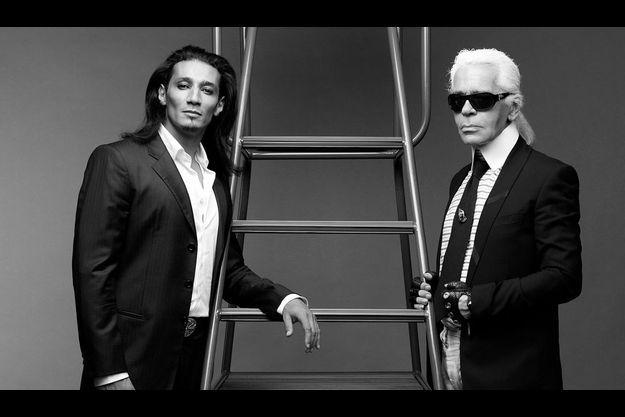 2007. Deuxième séance photo avec l'Eminence de Chanel et son modèle, Aziz, du tout premier Loft sur M6, qui a pris des cours d'art dramatique et entame une carrière de comédien.
