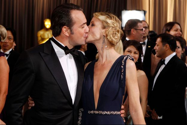Jean Dujardin et Alexandra Lamy, lors de la soirée des Oscars en 2012.