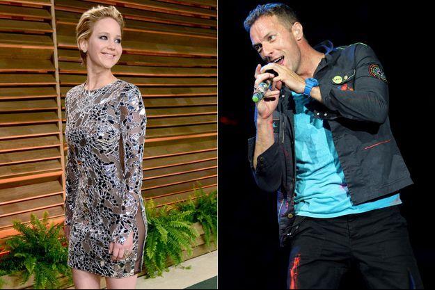 Jennifer Lawrence et Chris Martin se fréquenteraient depuis le mois de juin, en toute discrétion (montage).