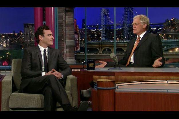 Joaquin Phoenix et David Letterman sur le plateau du Today Show, hier.