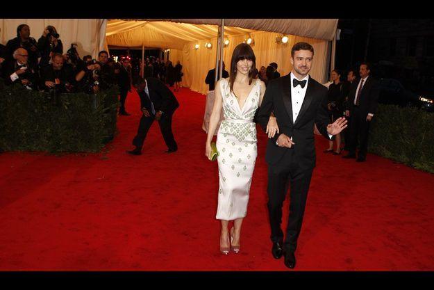 Jessica Biel et Justin Timberlake ensemble, le 7 mai dernier, lors du vernissage d'une exposition au Metropolitan Museum of Art.