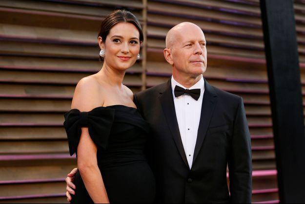 Bruce Willis et sa femme alors qu'elle était enceinte, en mars dernier.