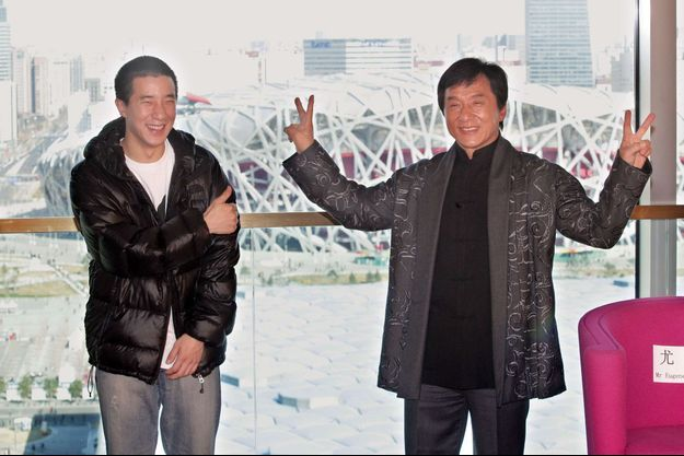 Jackie Chan et son fils, Jaycee, à Pékin en 2009