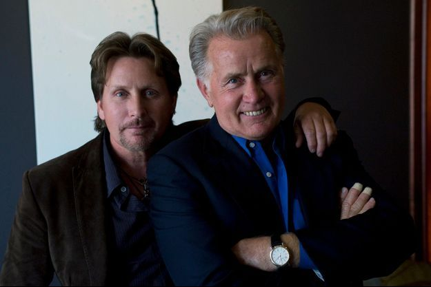 "Emilio Estevez et son père Martin Sheen lors de la promotion de ""The Way, la route ensemble""."