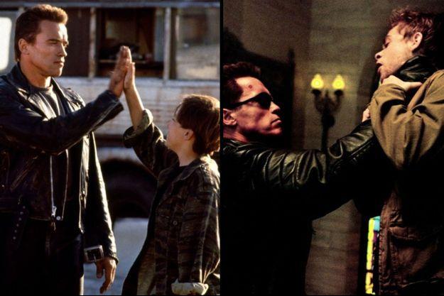 "A gauche, Arnold Schwarzenegger et le jeune Edward Furlong dans ""Terminator 2"". A droite, ""Schwarzy"" avec Nick Stahl dans ""Terminator 3""."