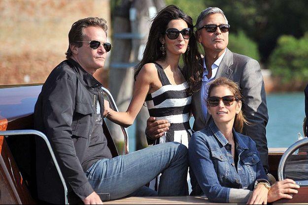 Amal et George Clooney, accompagnés de Cindy Crawford et de son époux, Rande Gerber, à Venise le 26 septembre dernier