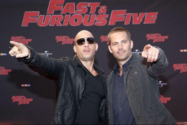 """Vin Diesel et Paul Walker pendant la promotion de """"Fast and Furious 5"""", en avril 2011."""