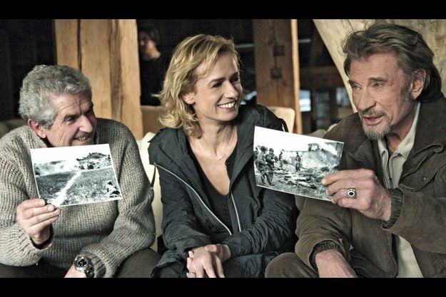 Claude Lelouch, Sandrine Bonnaire et Johnny Hallyday.