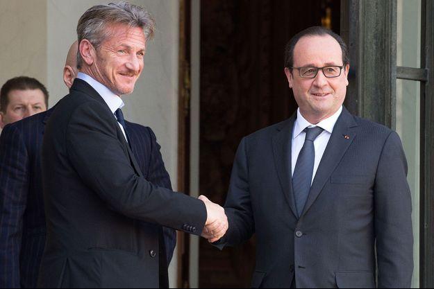 Sean Penn et François Hollande à l'Élysée ce jeudi 19 février