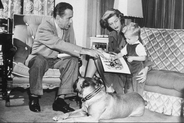 Humphrey Bogart, Lauren Bacall et leur fils Stephen.