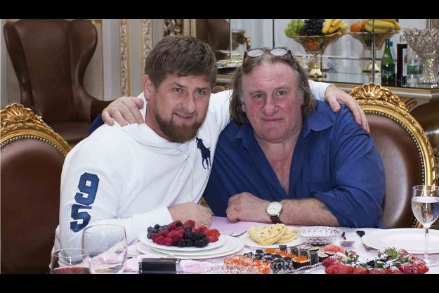 Gérard Depardieu et Ramzan Kadyrov, dimanche soir.